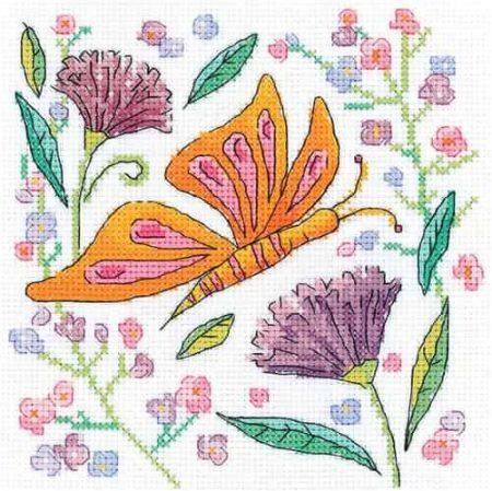 Heritage Crafts Cross Stitch Kit - Karen Carter - Orange Butterfly