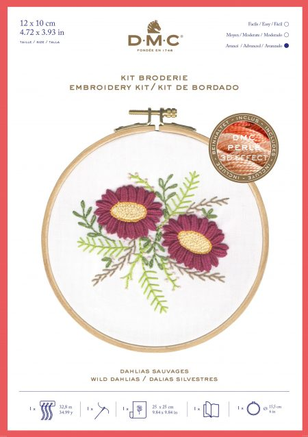 DMC Printed Embroidery Kit - Wild Dahlias, Flowers TB155 includes hoop