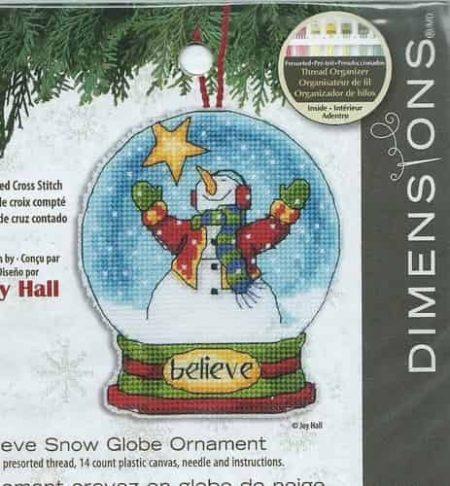 Dimensions Cross Stitch Kit - Snow Globe Christmas Tree Ornament - Believe