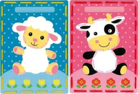 Vervaco Children's Embroidery Kit - Set of 2 pictures - Lamb and Cow