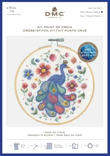 DMC Cross Stitch Kit - Peacock In Bloom BK1930 includes hoop