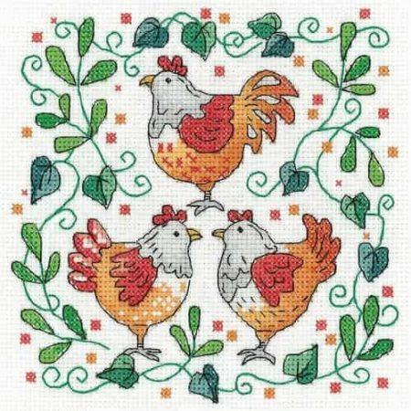 Heritage Crafts Cross Stitch Kit - Three French Hens - Christmas