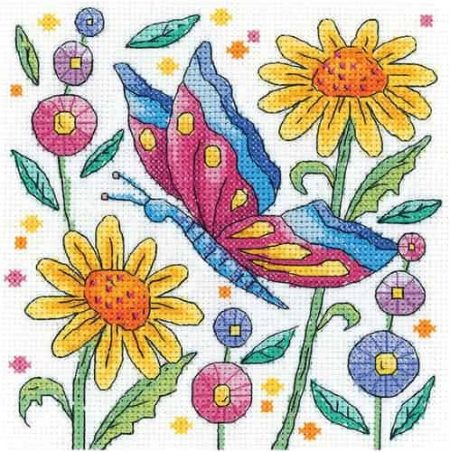 Heritage Crafts Cross Stitch Kit - Karen Carter - Red Butterfly
