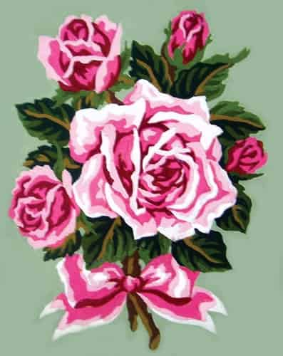 Grafitec Printed Tapestry Needlepoint Canvas - Bouquet of Pink Roses