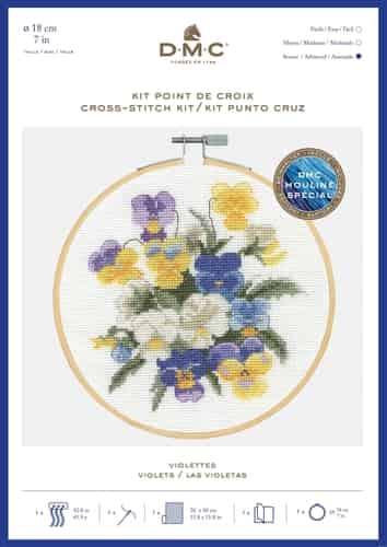 DMC Cross Stitch Kit - Violas, Violets BK1937 includes hoop