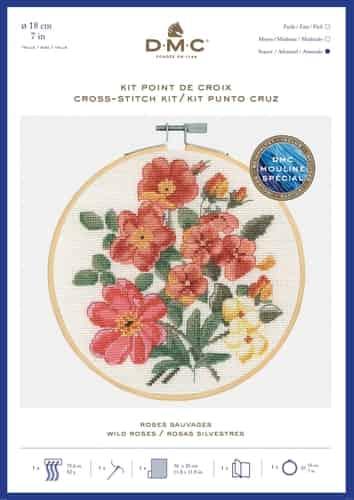 DMC Cross Stitch Kit - Wild Roses BK1938 includes hoop