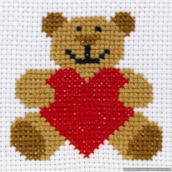 Anchor Beginners 1st Cross Stitch Kit - Ed, Teddy Bear 10004