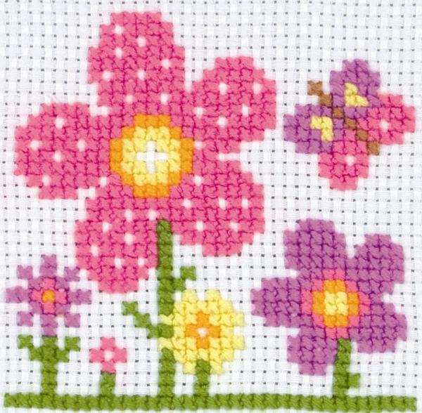 Anchor Beginners 1st Cross Stitch Kit - Sarah Flowers 10007