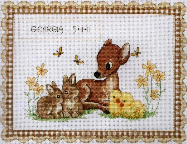 Anchor Cross Stitch Kit - Baby Animal Birth Record ACS23