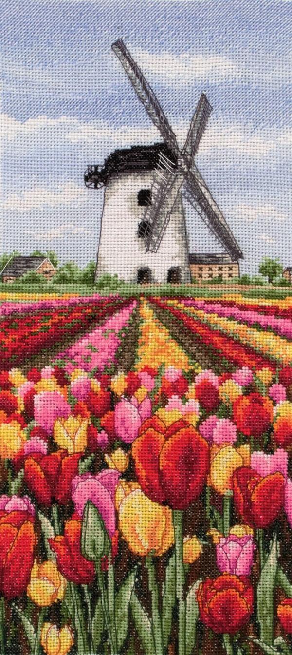 Anchor Cross Stitch Kit - Dutch Tulips Landscape PCE0806