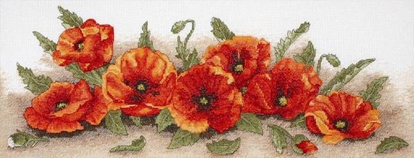 Anchor Cross Stitch Kit - Spray of Poppies, Flowers PCE722