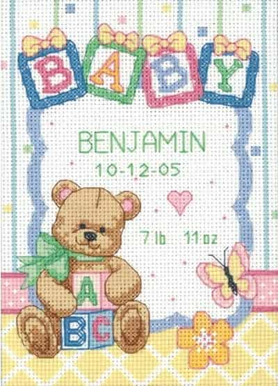 Dimensions Counted Cross Stitch Kit - Birth Record - Baby Blocks - 73049