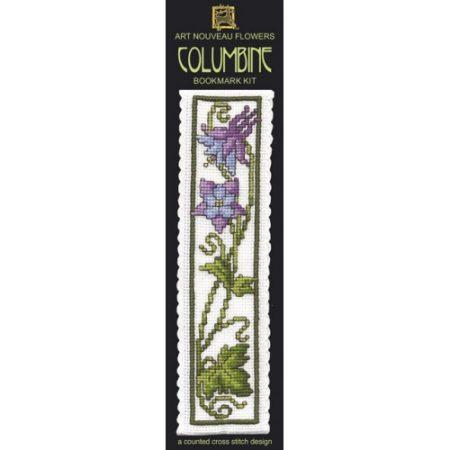 Textile Heritage Cross Stitch Kit - Bookmark - Columbine Flower - Made in Scotland