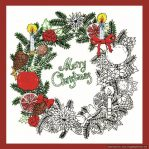 Design Works Zenbroidery Christmas Wreath Fabric Pack, Embroidery