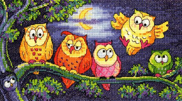 Heritage Crafts Cross Stitch Kit - A Hoot of Owls
