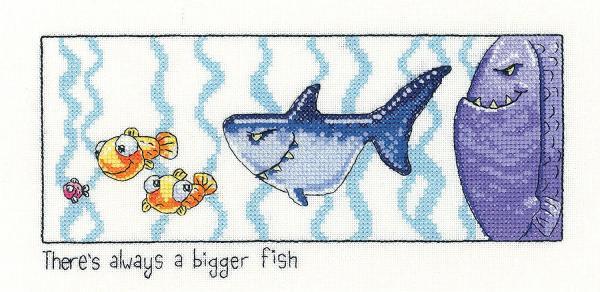Heritage Crafts Cross Stitch Kit - Always a Bigger Fish