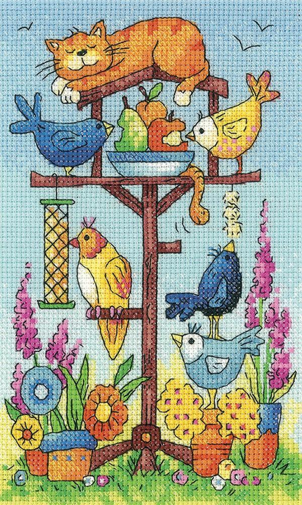 Heritage Crafts Cross Stitch Kit - Bird Table