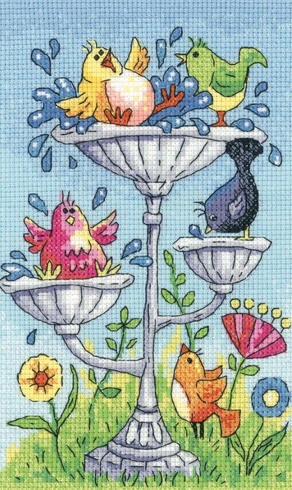 Heritage Crafts Cross Stitch Kit - Birdbath