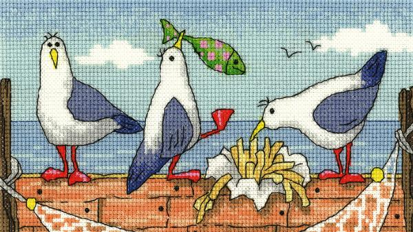 Heritage Crafts Cross Stitch Kit - By The Sea - Fish n Chips