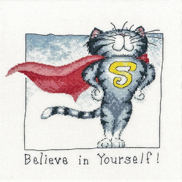 Heritage Crafts Cross Stitch Kit - Cats Rule, Believe in Yourself