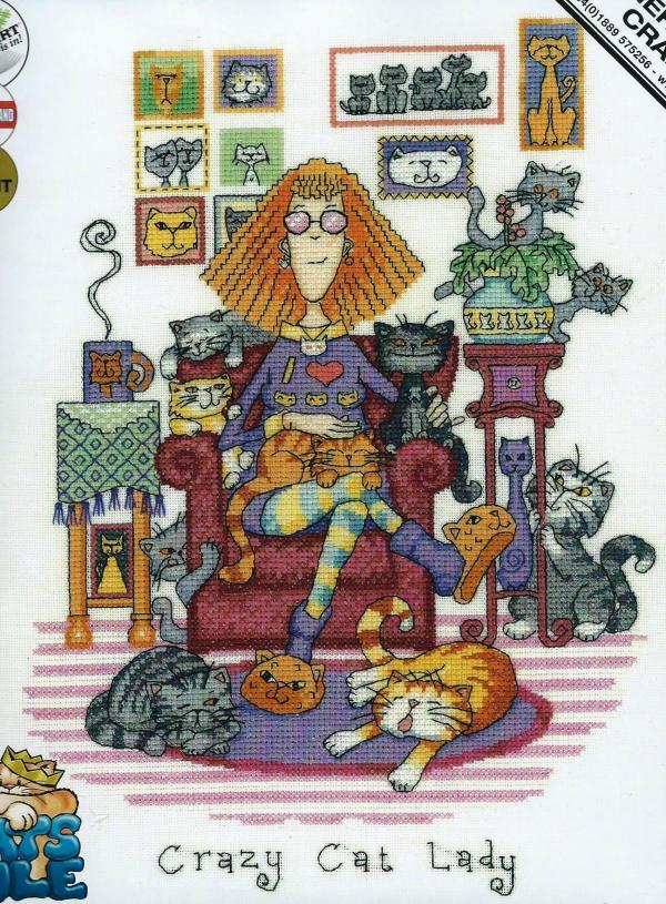 Heritage Crafts Cross Stitch Kit - Cats Rule, Crazy Cat Lady