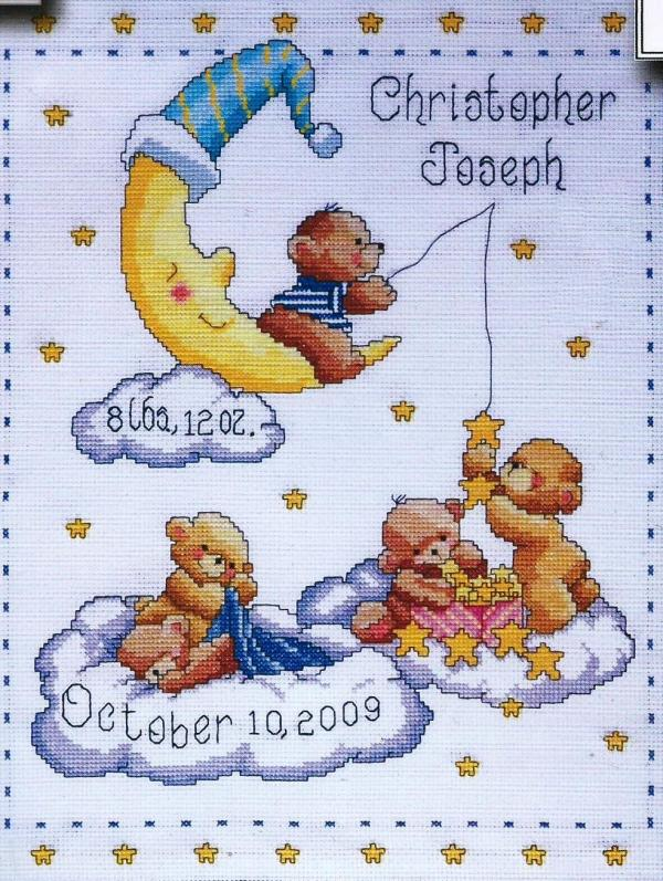 Tobin Baby Design Works Cross Stitch Kit - Heavenly Bears Sampler