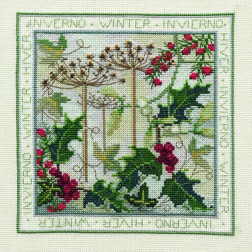 Derwentwater Designs Cross Stitch Kit - Four Seasons, Winter, Holly, Berries