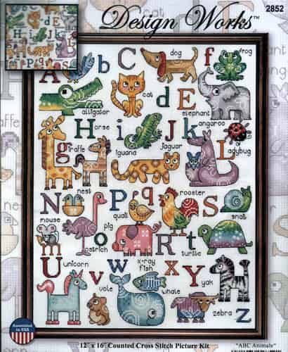 Design Works Cross Stitch Kit - ABC Animals Sampler