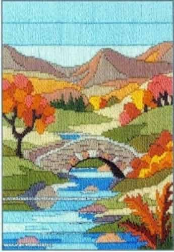 Derwentwater Designs Long Stitch Kit - Seasons, Mountain Autumn, Bridge, River