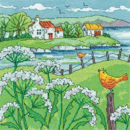 Heritage Crafts Cross Stitch Kit - By the Sea - Cow Parsley Shore