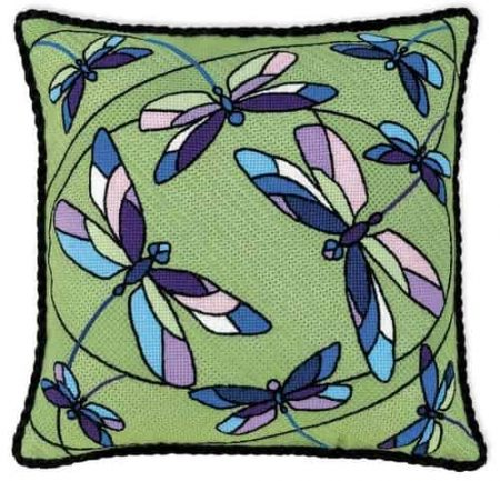 Riolis Cross Stitch Kit - Dragonflies Cushion Panel