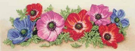 Anchor Cross Stitch Kit - Spray of Anemones, Flowers PCE733
