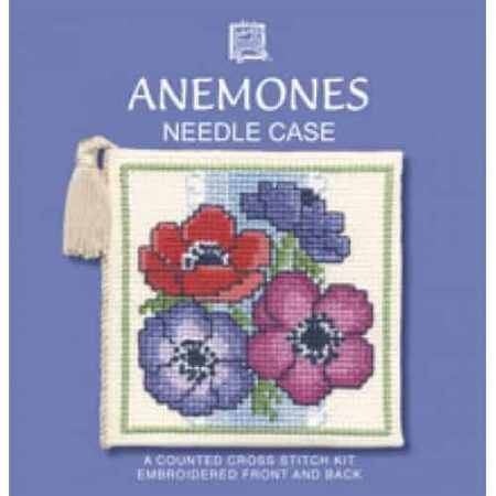 Textile Heritage Cross Stitch Kit - Anemones Needlecase - Made in Scotland