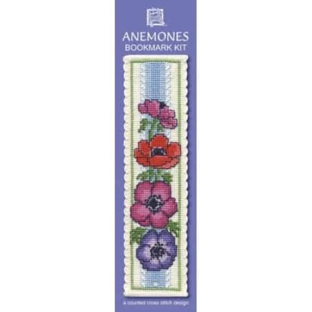 Textile Heritage Cross Stitch Kit - Bookmark - Anemones - Made in Scotland