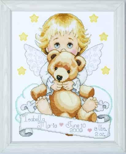 Tobin Baby Design Works Cross Stitch Kit - Angel with Bear Sampler