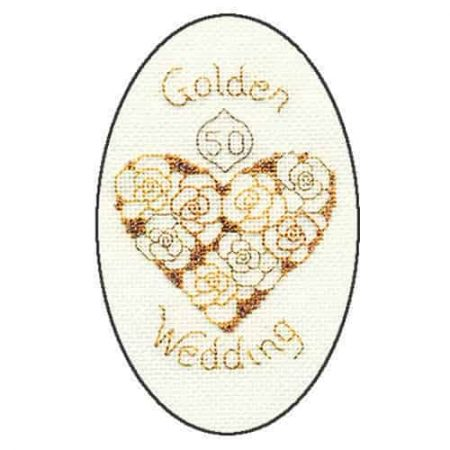 Derwentwater Designs Cross Stitch Kit - Golden Wedding Anniversary Card