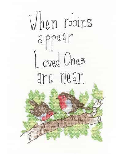 Heritage Crafts Cross Stitch Kit - When Robins Appear