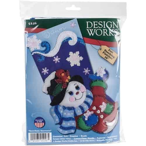 Design Works Felt Applique Christmas Stocking Kit SNOWFLAKE SNOWMAN Complete