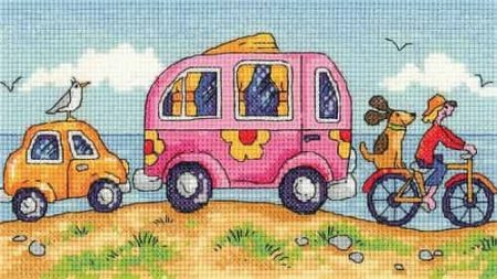 Heritage Crafts Cross Stitch Kit - By The Sea - Are We There Yet?