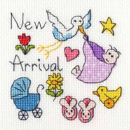 Bothy Threads Cross Stitch Kit - Greetings Card - New Baby