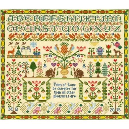 Bothy Threads Cross Stitch Kit - Moira Blackburn Pains of Love Sampler XS7