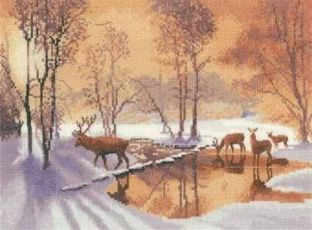 Heritage Crafts Cross Stitch Kit - Stepping Stones, Deer