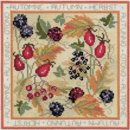 Derwentwater Designs Cross Stitch Kit - Four Seasons, Autumn, Berries