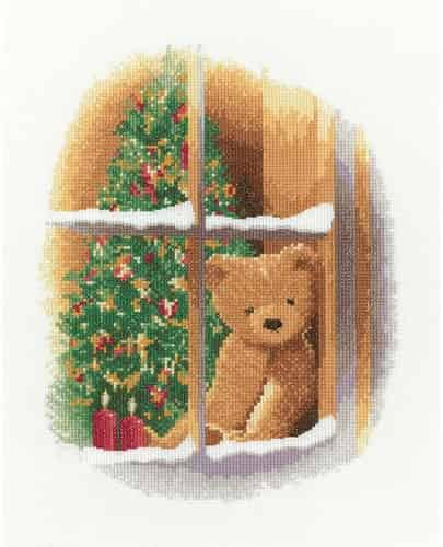 Heritage Crafts Cross Stitch Kit - William At Christmas, Teddy Bear
