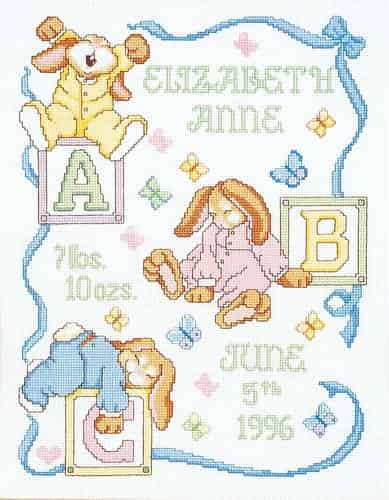 Janlynn Cross Stitch Kit - Sleepy Bunnies Baby Birth Announcement