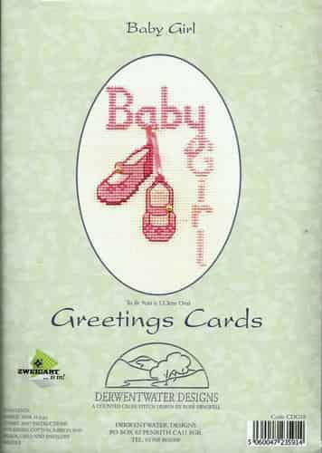Derwentwater Designs Cross Stitch Kit - Baby Girl, Birth Card