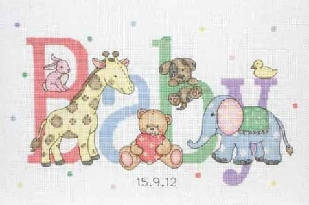 Anchor Cross Stitch Kit - Baby Animals, Birth Record ACS30
