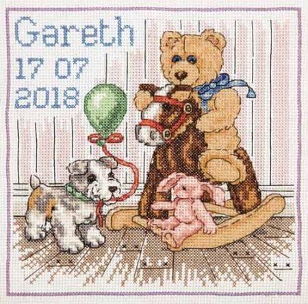 Anchor Cross Stitch Kit - Teddy Birth Sampler, Baby ACS48