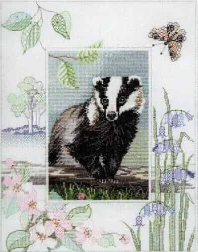 Derwentwater Designs Cross Stitch Kit - Badger