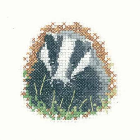 Heritage Crafts Cross Stitch Kit - Little Friends, Badger